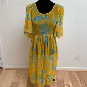 Asos yellow floral sheer dress coverup